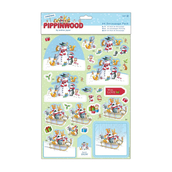 A4 Decoupage Pack Linen - Pippinwood Christmas - Snow Friends