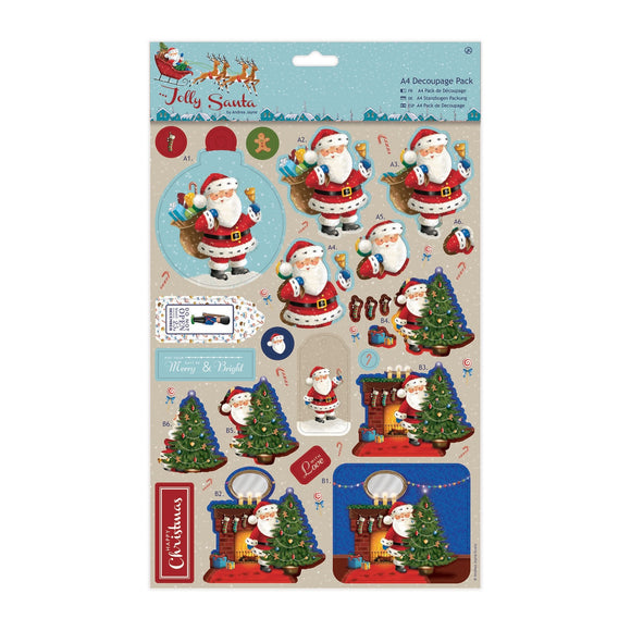 A4 Decoupage Pack - Jolly Santa