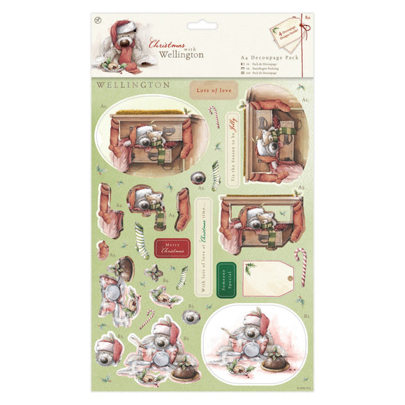 A4 Decoupage Pack - Wellington Christmas