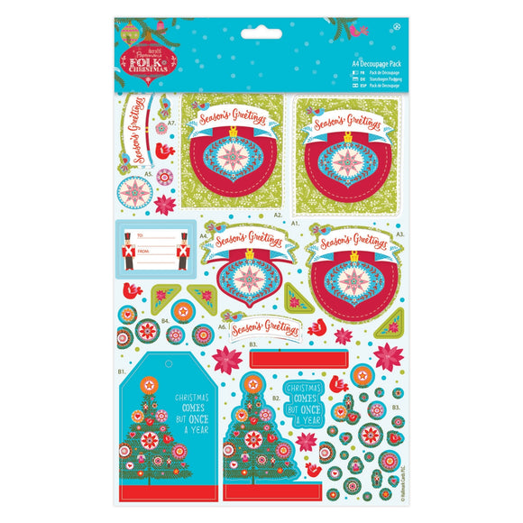A4 Decoupage Pack Linen - Folk Christmas