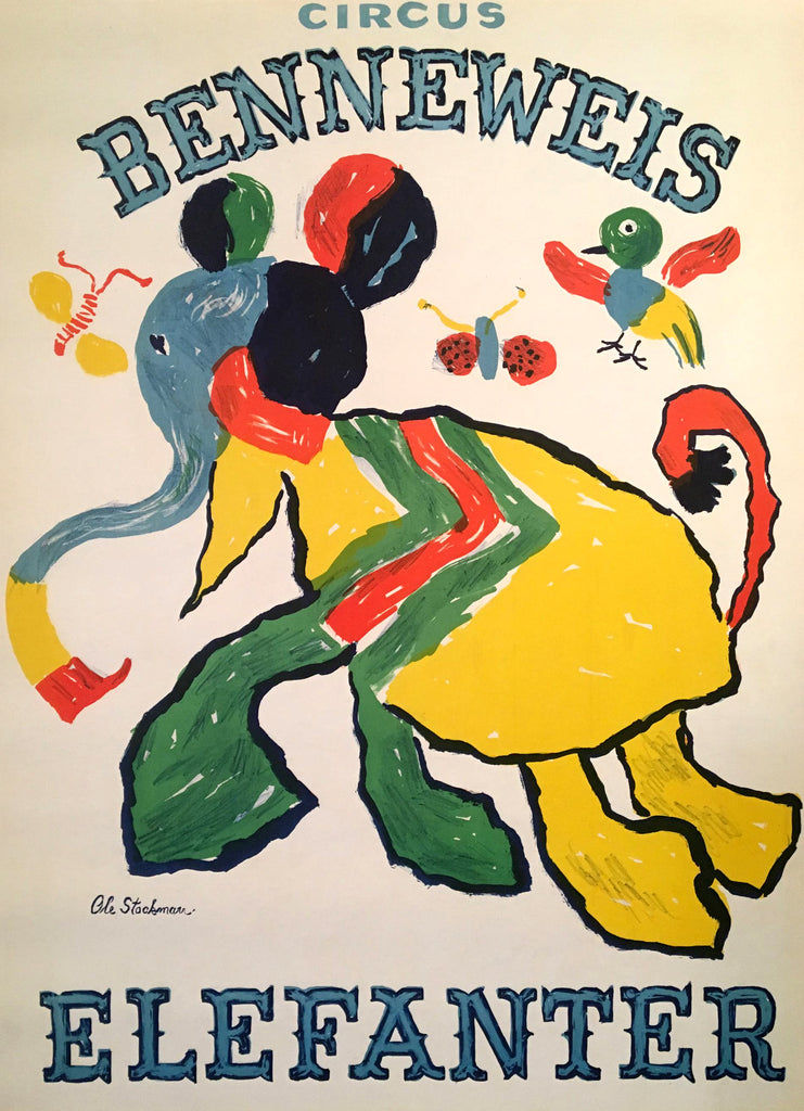 Circus Benneweis- Elefanter (1960s) - Original and Authentic Vintage Poster