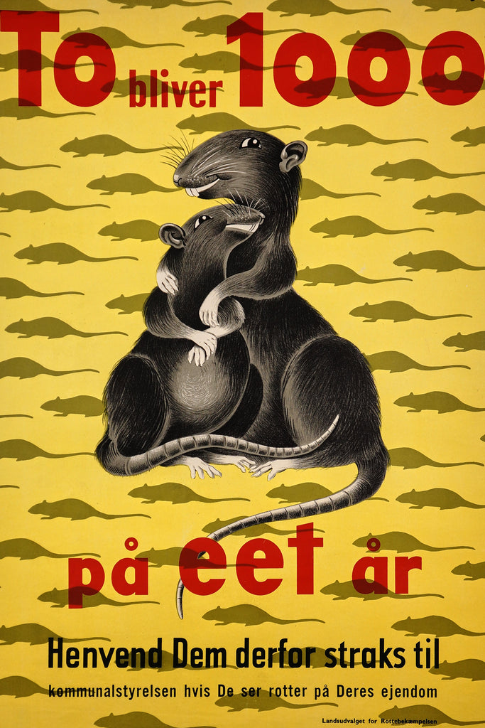 Rats! To Bliver 1000 pa Eet Ar (1960s) - Original and Authentic Vintage Poster