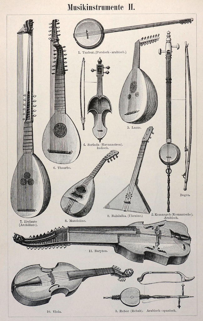 Musical Instruments Antique Engraving (1895)