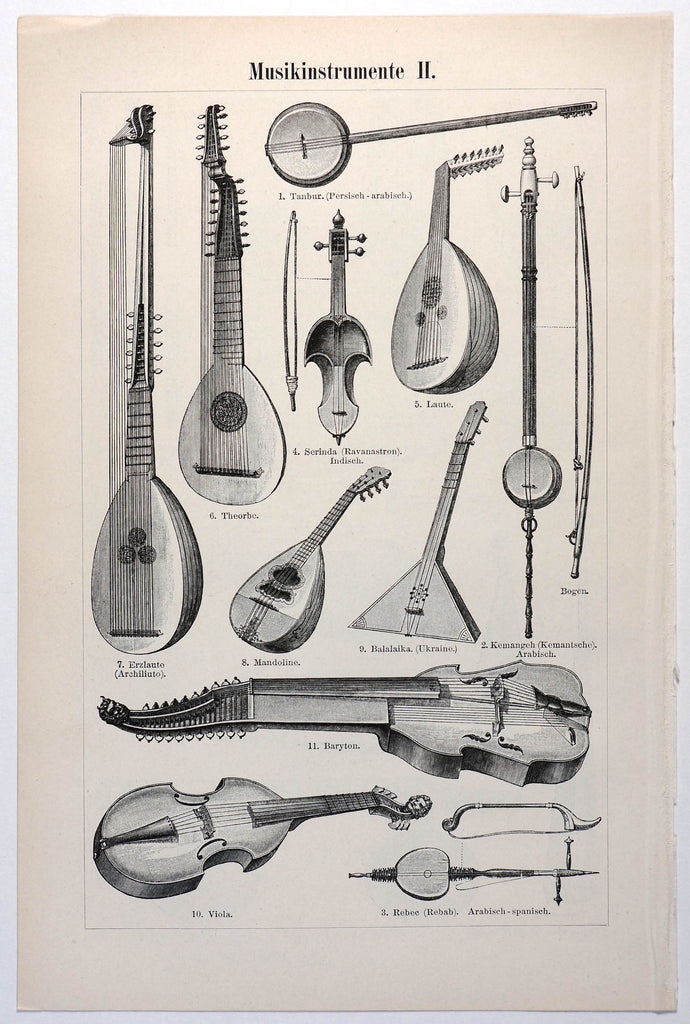Musical Instruments Antique Engraving (1895) - Authentic Vintage Posters