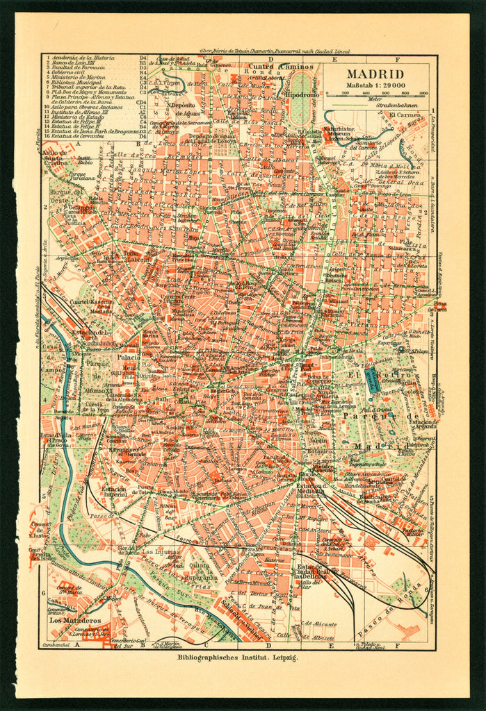 Madrid, Spain City Plan - Antique Map (1899)
