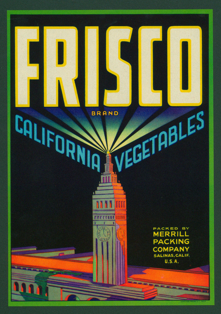 Frisco California Vegetables- Crate Label (1940s) - Authentic Vintage Posters