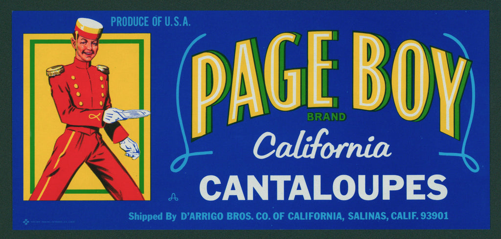 Page Boy Cantaloupes- Crate Label (1970s)