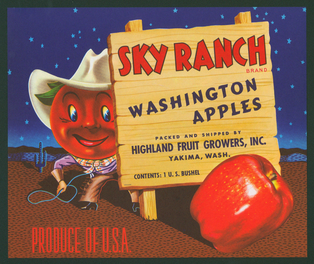 Sky Ranch Apples- Crate Label (1950s)