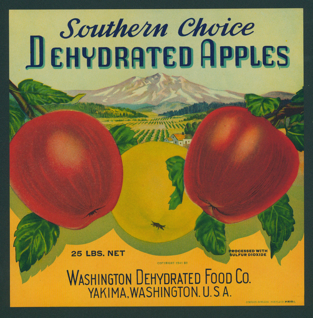 Southern Choice Dehydrated Apples- Crate Label (1940s)