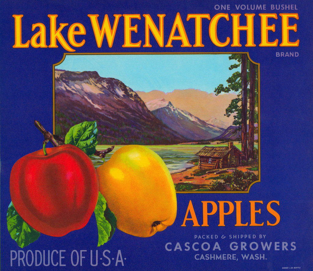 Lake Wenatchee Apples- Crate Label (1950s) - Authentic Vintage Posters