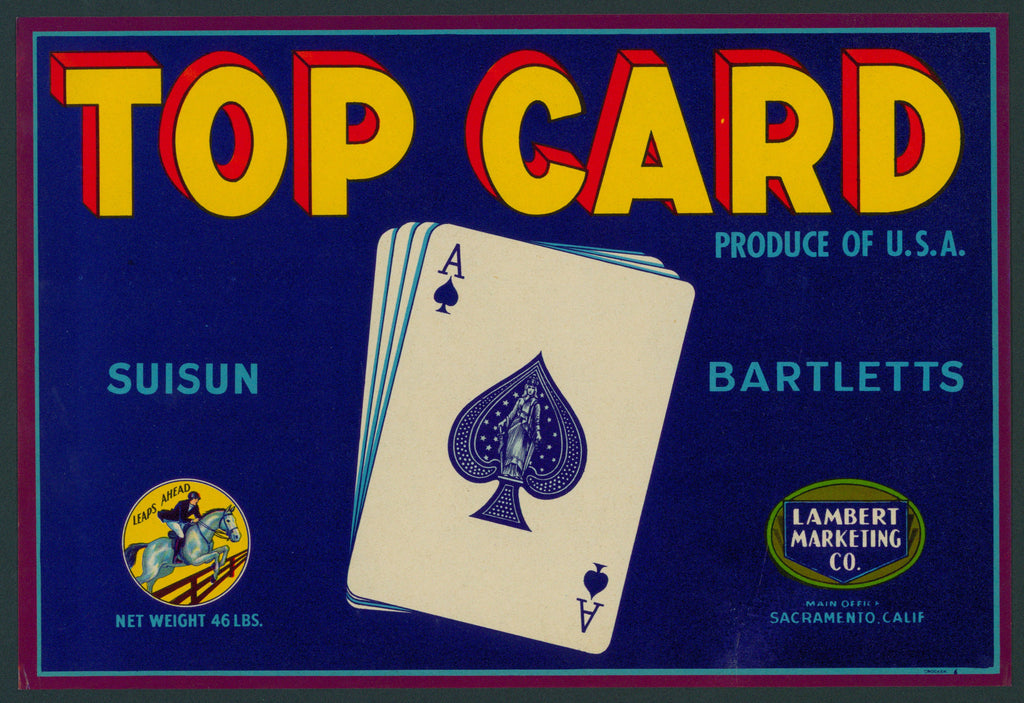 Top Card Suisun Bartletts- Crate Label (1940s)
