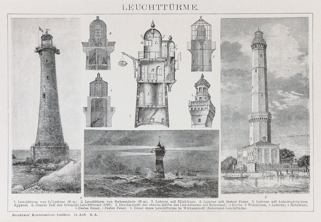 Lighthouses, Antique Engraving (1895) - Original and Authentic Vintage Poster