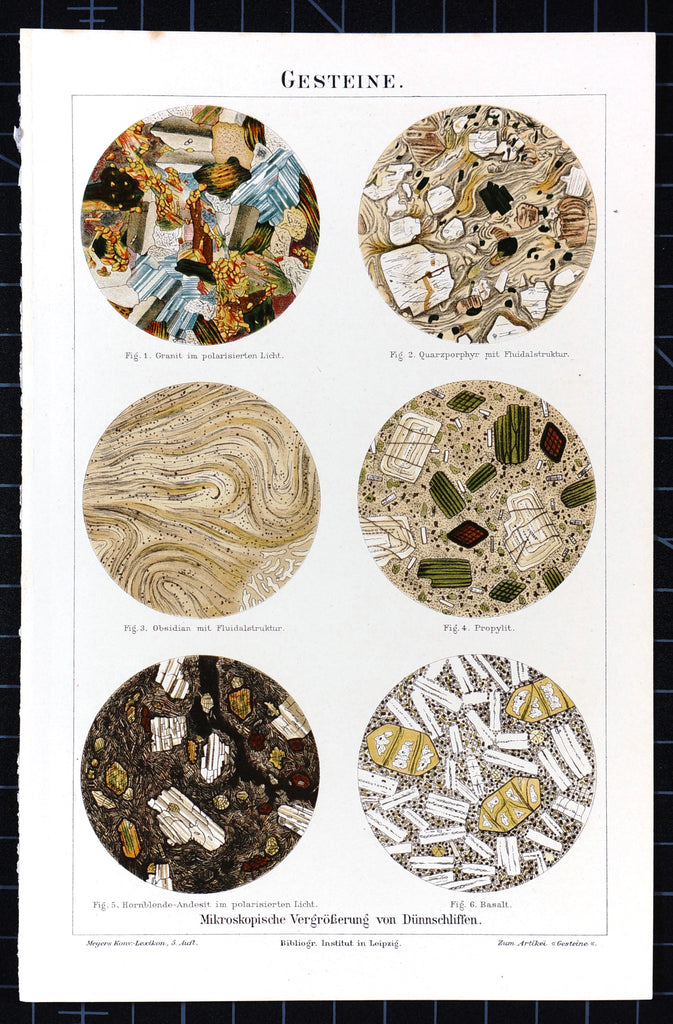 Geology- Stones Under Microscope, Antique Chromolithograph (1895) - Original and Authentic Vintage Poster