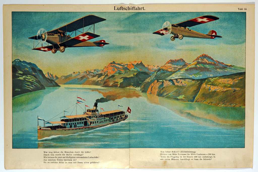 Airplanes & Ship, Switzerland Landscape, Antique Chromolithograph (1900s) - Original and Authentic Vintage Poster