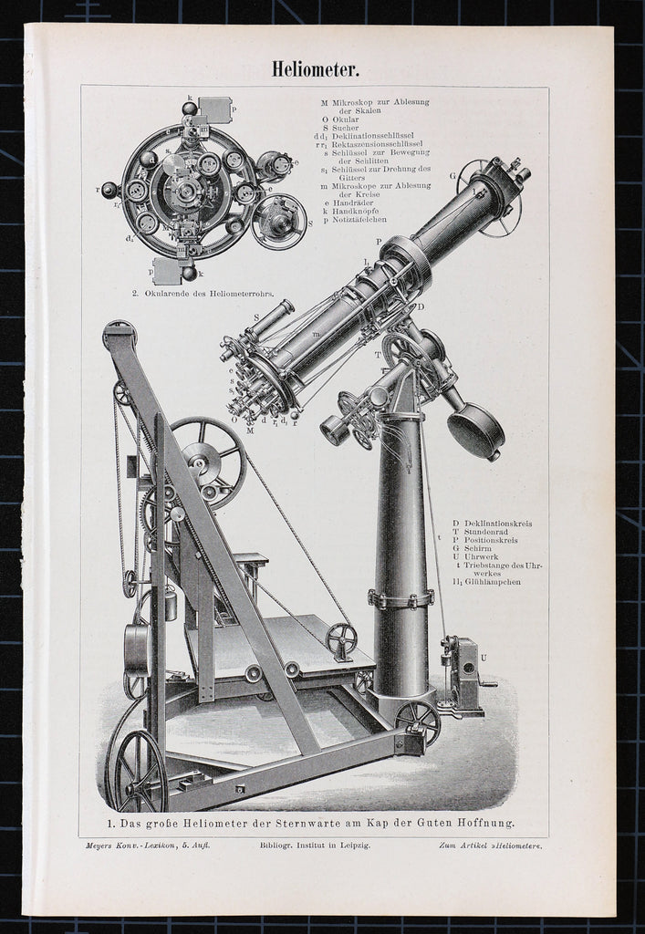 Heliometer Telescope, Astronomy Antique Engraving (1895) - Original and Authentic Vintage Poster