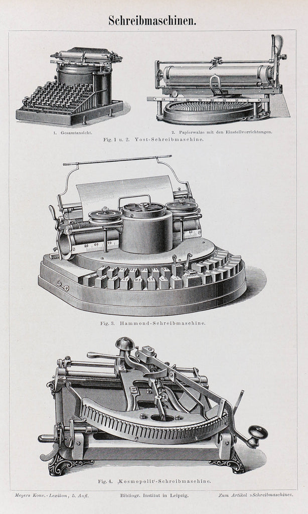 Typewriters, Yost, Hammond, Kosmopolit Antique Engraving (1895) - Original and Authentic Vintage Poster