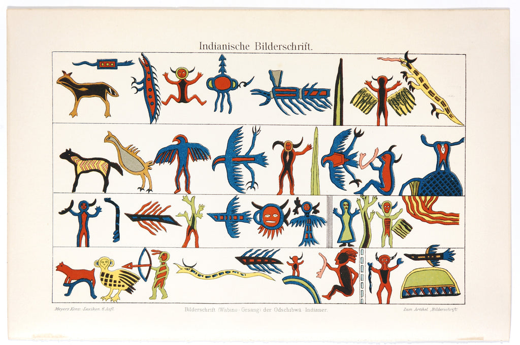 Prehistoric American Indian Drawings, Antique Chromolithograph (1895) - Original and Authentic Vintage Poster