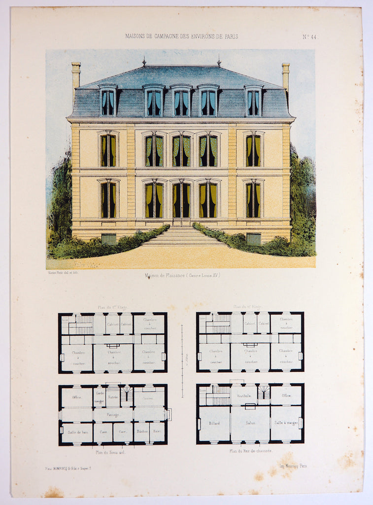 Maison de Plaisance, Hand Colored Print (1855) - Original and Authentic Vintage Poster