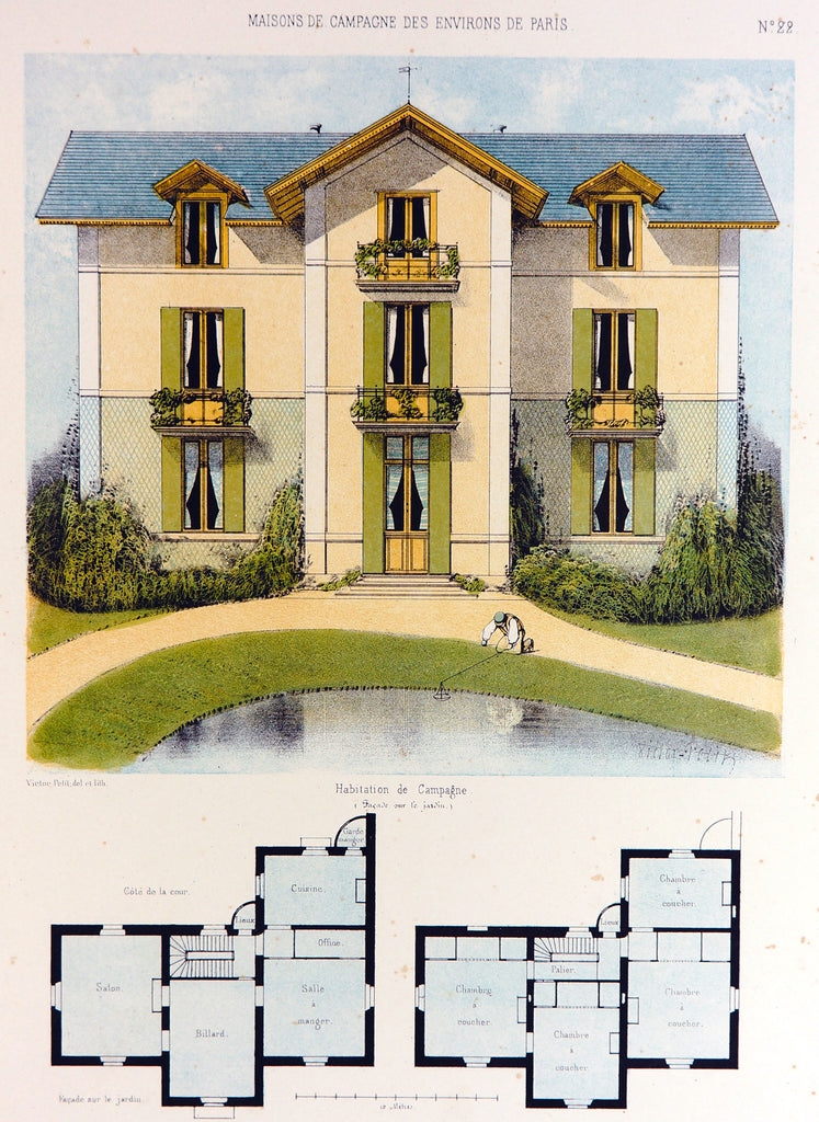 Habitation de Campagne, Hand Colored Print (1855) - Original and Authentic Vintage Poster