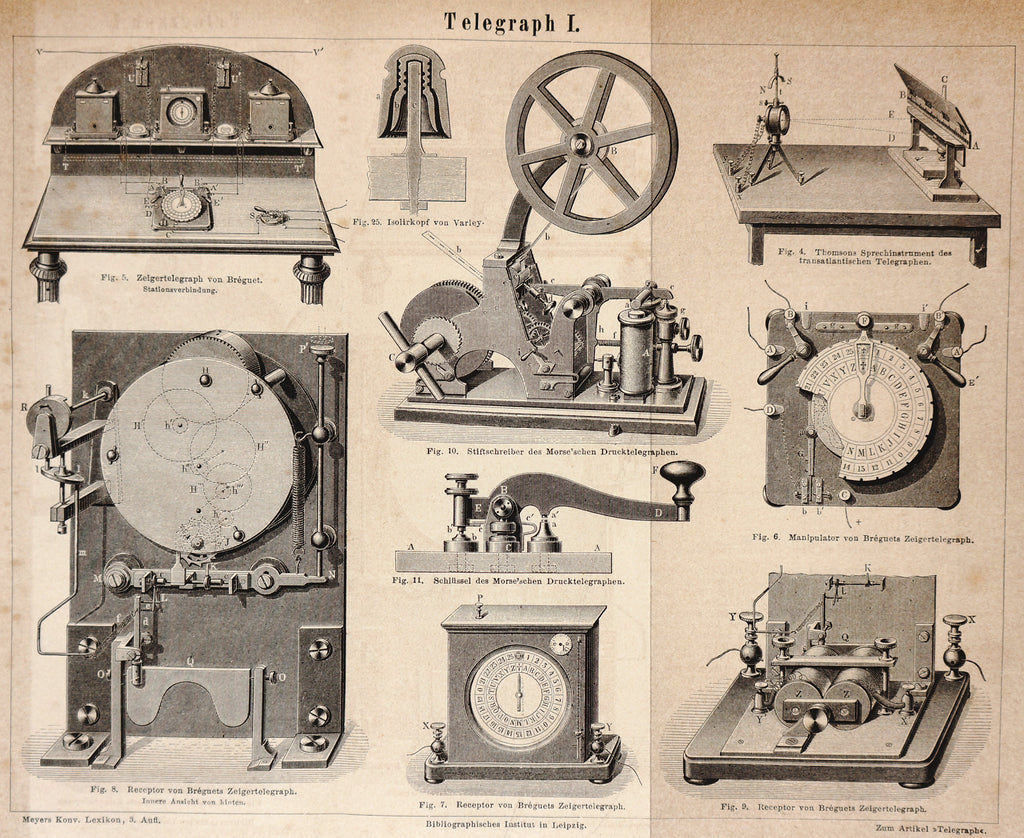 Telegraph Apparatus, Antique Engraving (1874) - Original and Authentic Vintage Poster