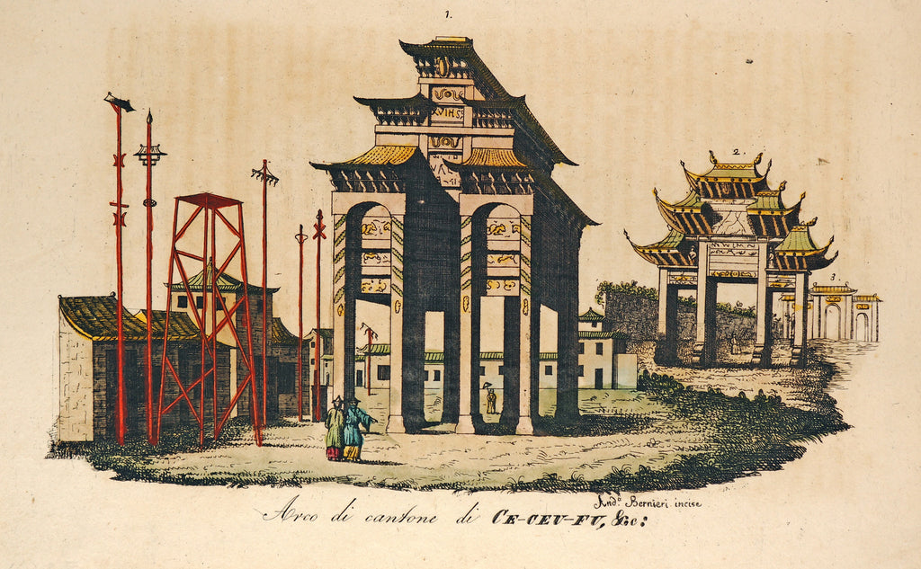 Triumphal arch of Ce-ceu-fu, Hand Colred Engraving (1842) - Original and Authentic Vintage Poster