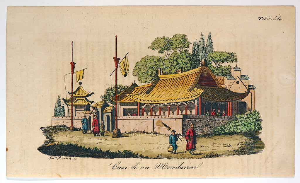 Chinese Mandarin House, Hand Colored Engraving (1842) - Original and Authentic Vintage Poster
