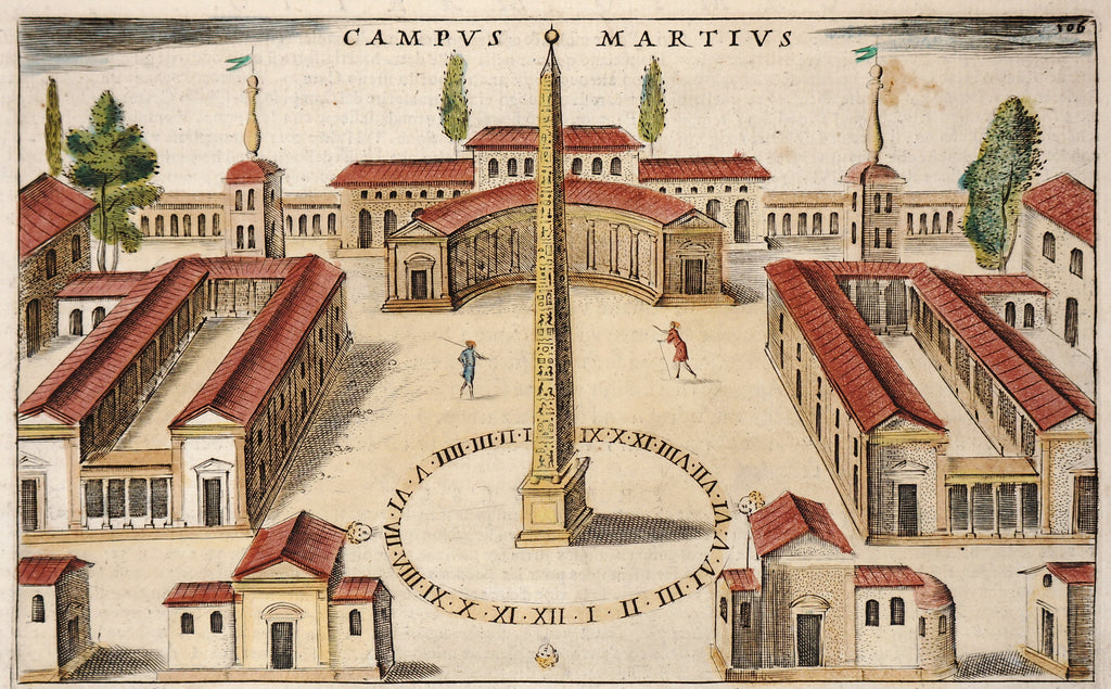 Campo Marzio, Rome, Italy Hand Colored Engraving (1624) - Original and Authentic Vintage Poster