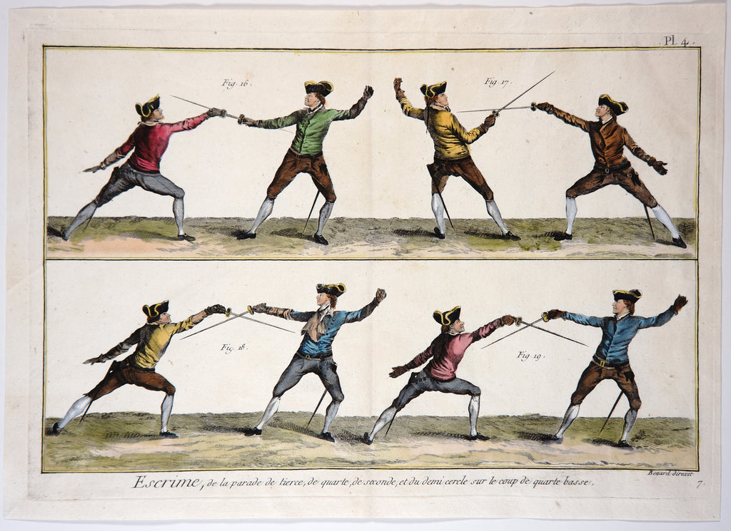 Escrime (Fencing), Hand Colored Engraving (1765) - Original and Authentic Vintage Poster
