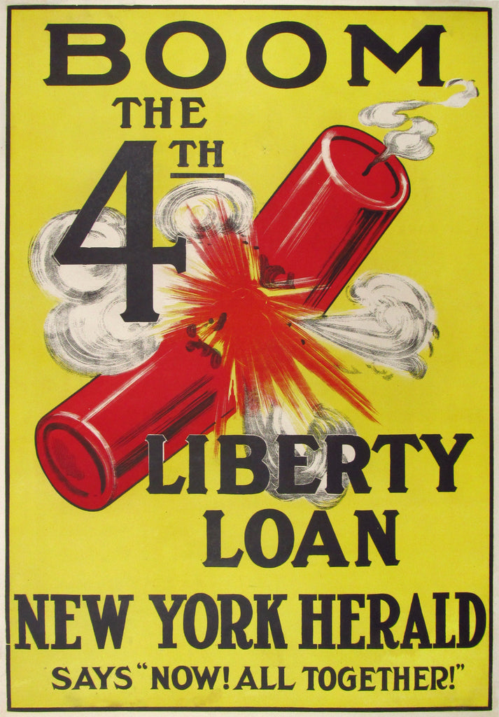 Boom! The 4th Liberty Loan (1918) - Original and Authentic Vintage Poster