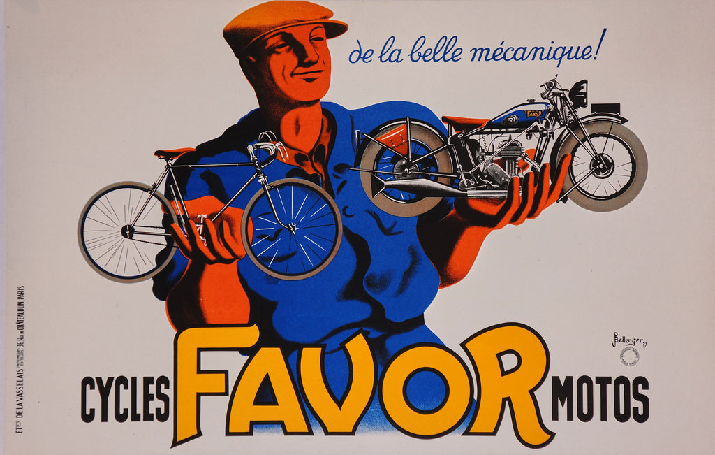 Cycles Favor Motos (1937) - Original and Authentic Vintage Poster