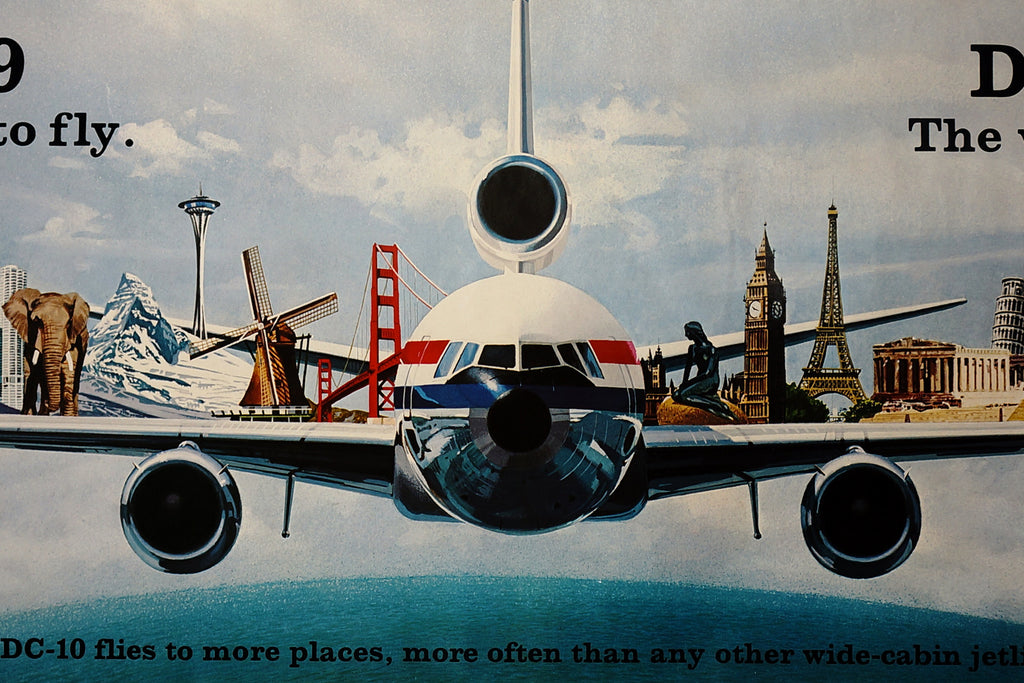 McDonnell Douglas DC-10 (1970s) - Original and Authentic Vintage Poster