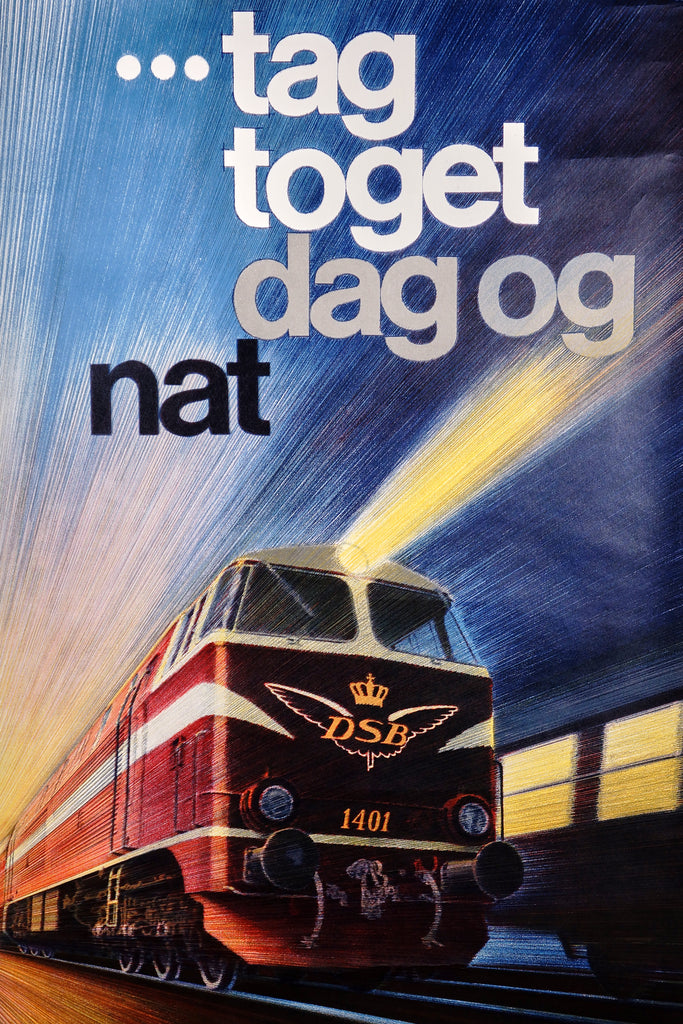 Tag toget dag og nat- DSB Railways (1969) - Original and Authentic Vintage Poster