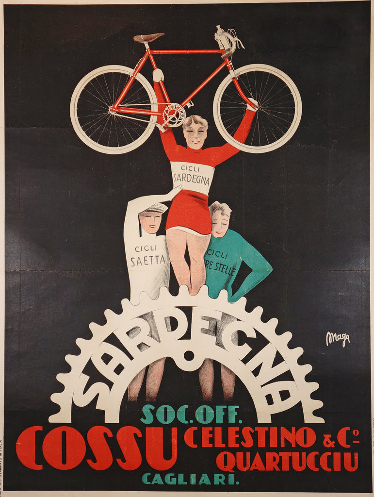 Sardegna Cycles (1930) - Original and Authentic Vintage Poster