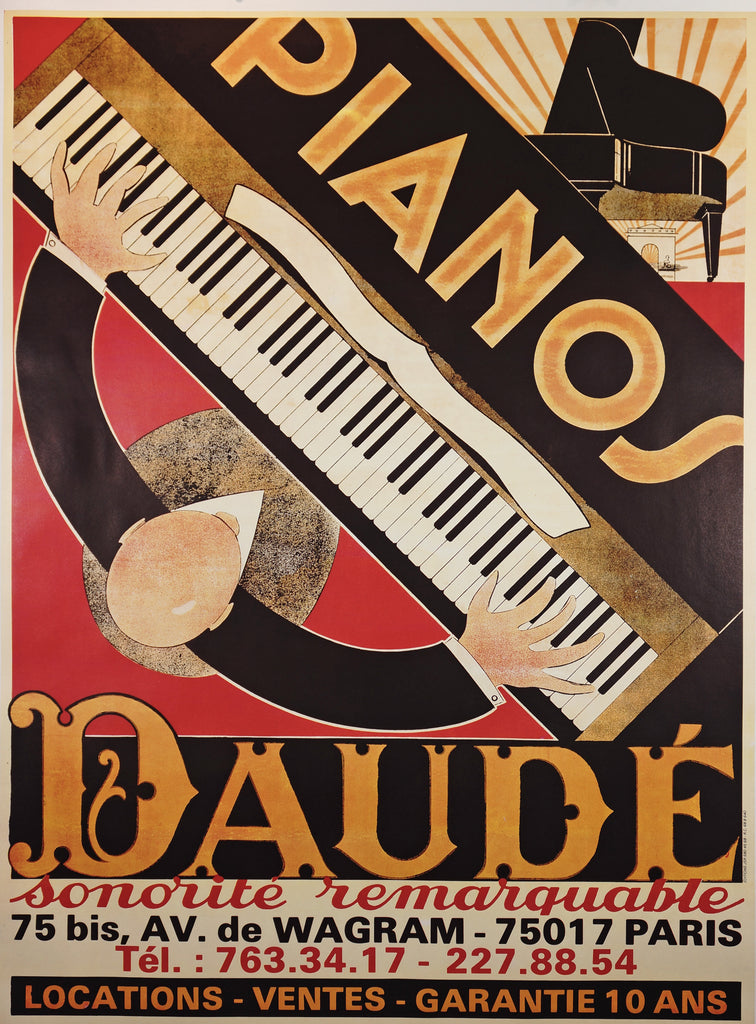 Pianos Daude (1975) - Original and Authentic Vintage Poster
