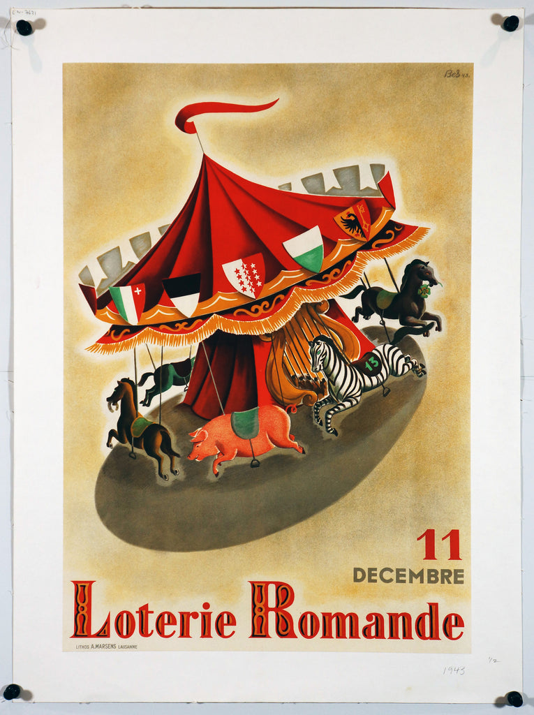 Loterie Romande - Carousel (1943) - Original and Authentic Vintage Poster