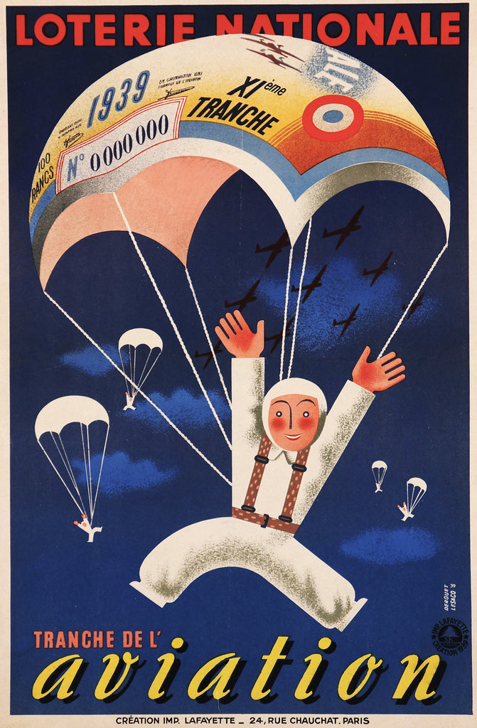 Loterie Nationale Aviation (1939) - Original and Authentic Vintage Poster