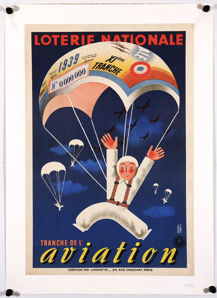 Loterie Nationale Aviation (1939) - Authentic Vintage Posters