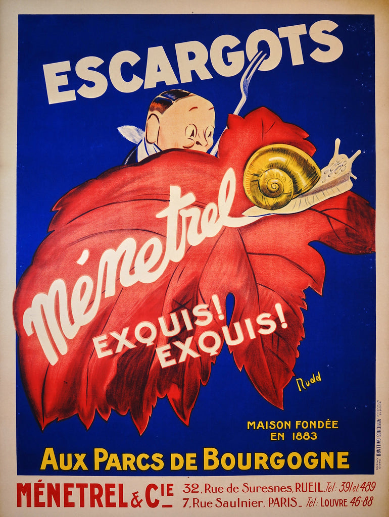 Escargots Menetrel (1930s) - Original and Authentic Vintage Poster