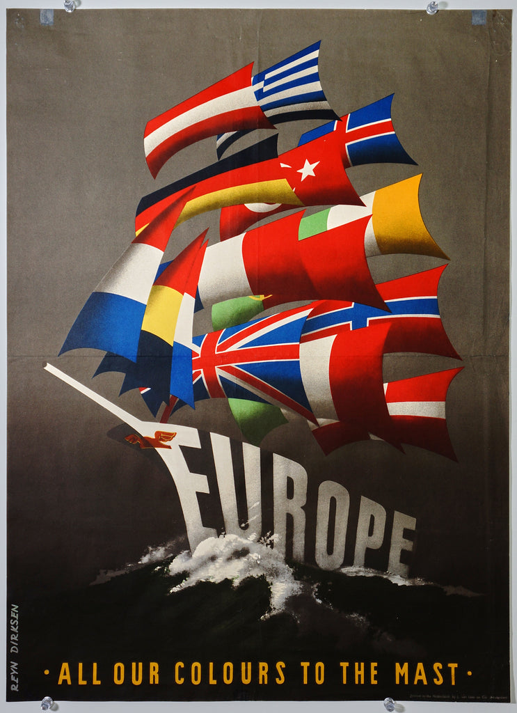 Europe, All Our Colours to the Mast (1950) - Original and Authentic Vintage Poster