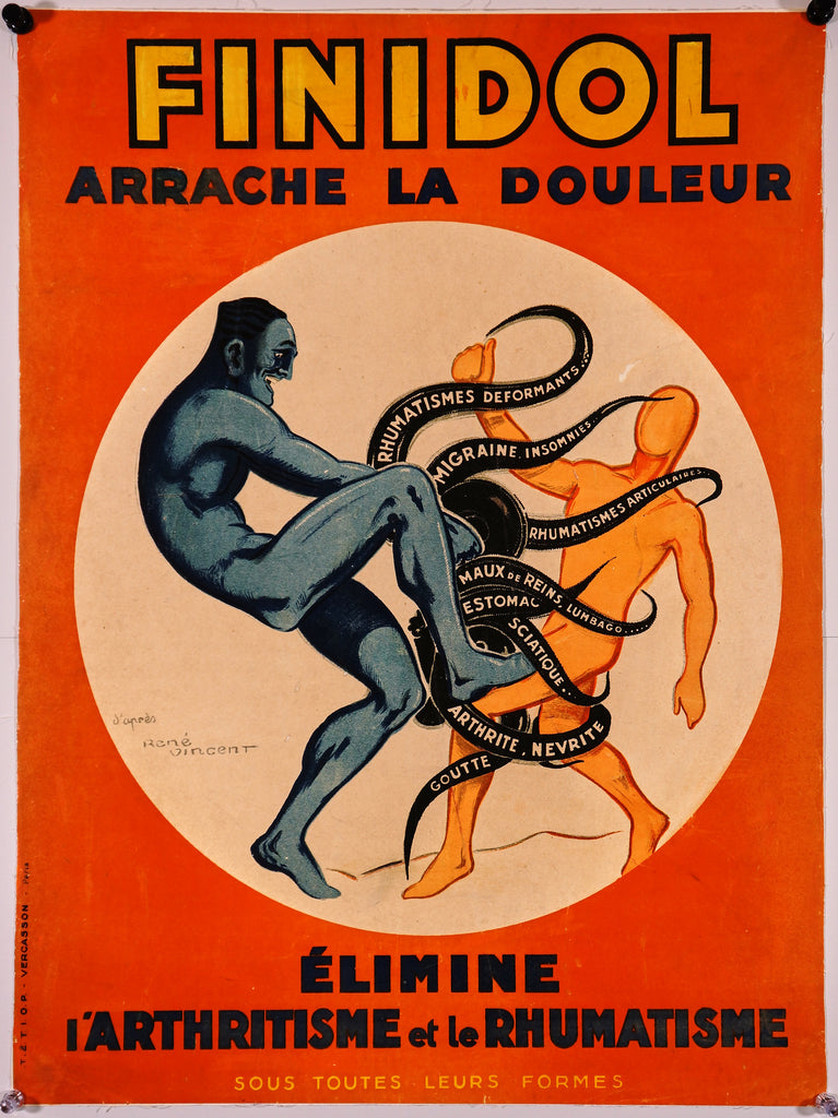 Finidol Arrache la Douleur (c1920) - Original and Authentic Vintage Poster