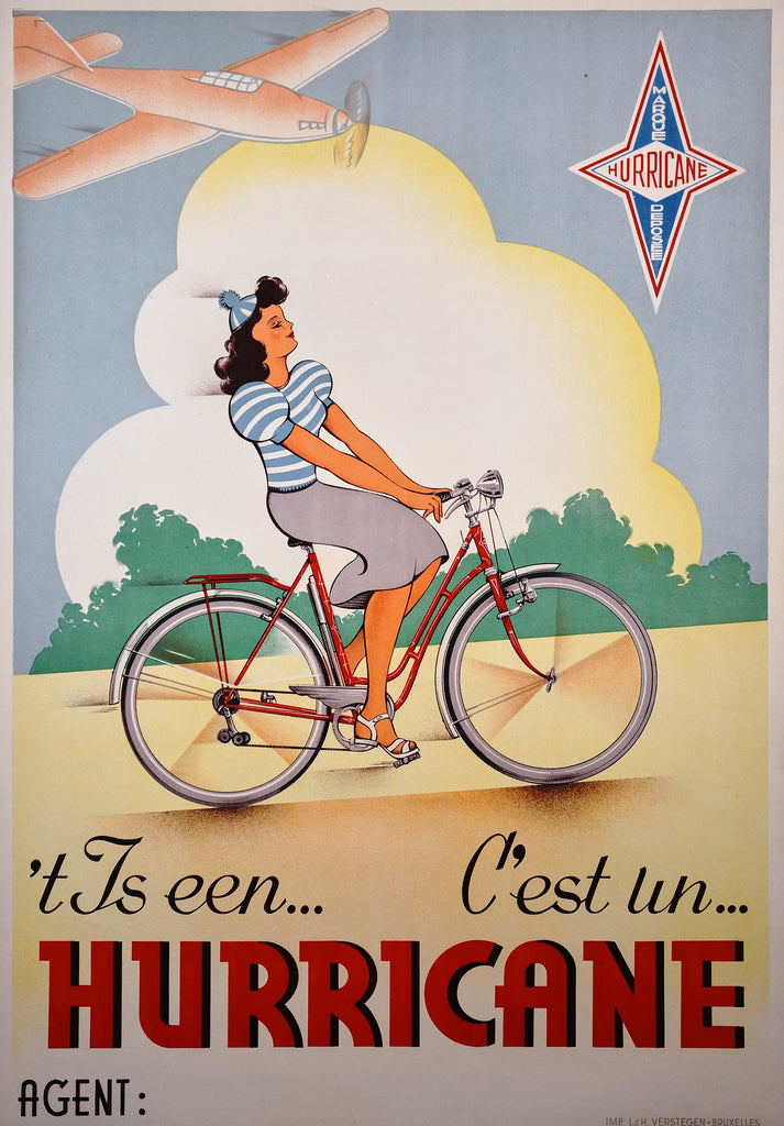 Hurricane Bicycles (1950s) - Original and Authentic Vintage Poster