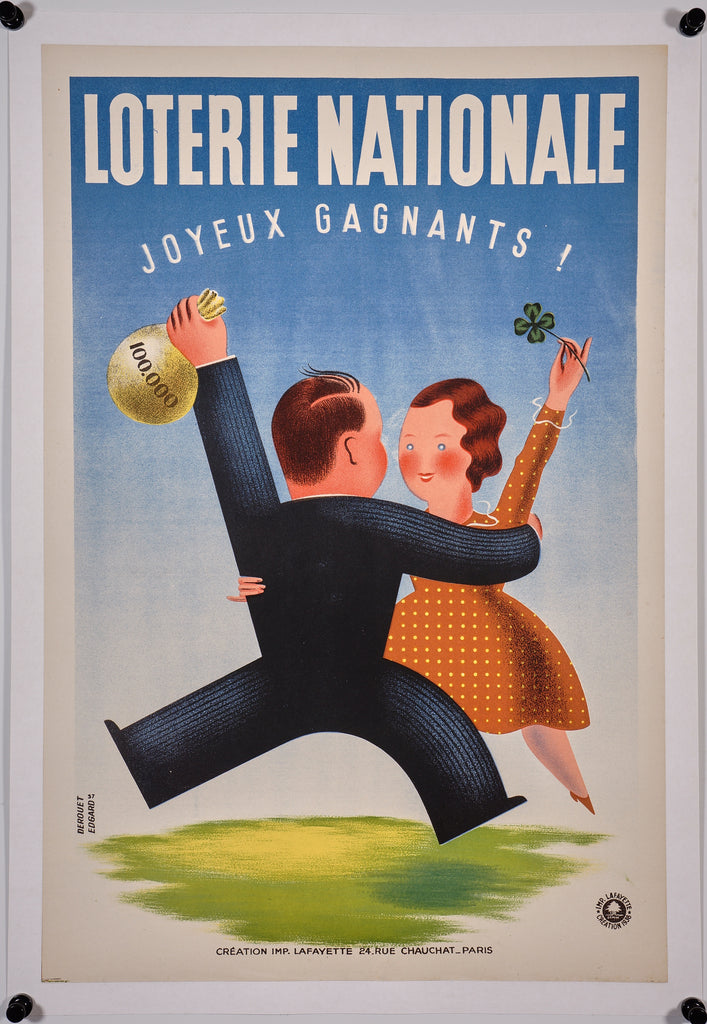 Loterie Nationale- Happy Winners! (1938) - Original and Authentic Vintage Poster