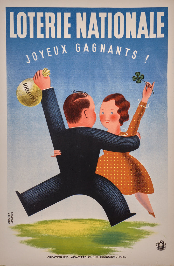 Loterie Nationale- Happy Winners! (1938) - Authentic Vintage Posters