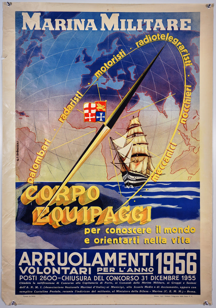 Marina Militare (1956) - Original and Authentic Vintage Poster