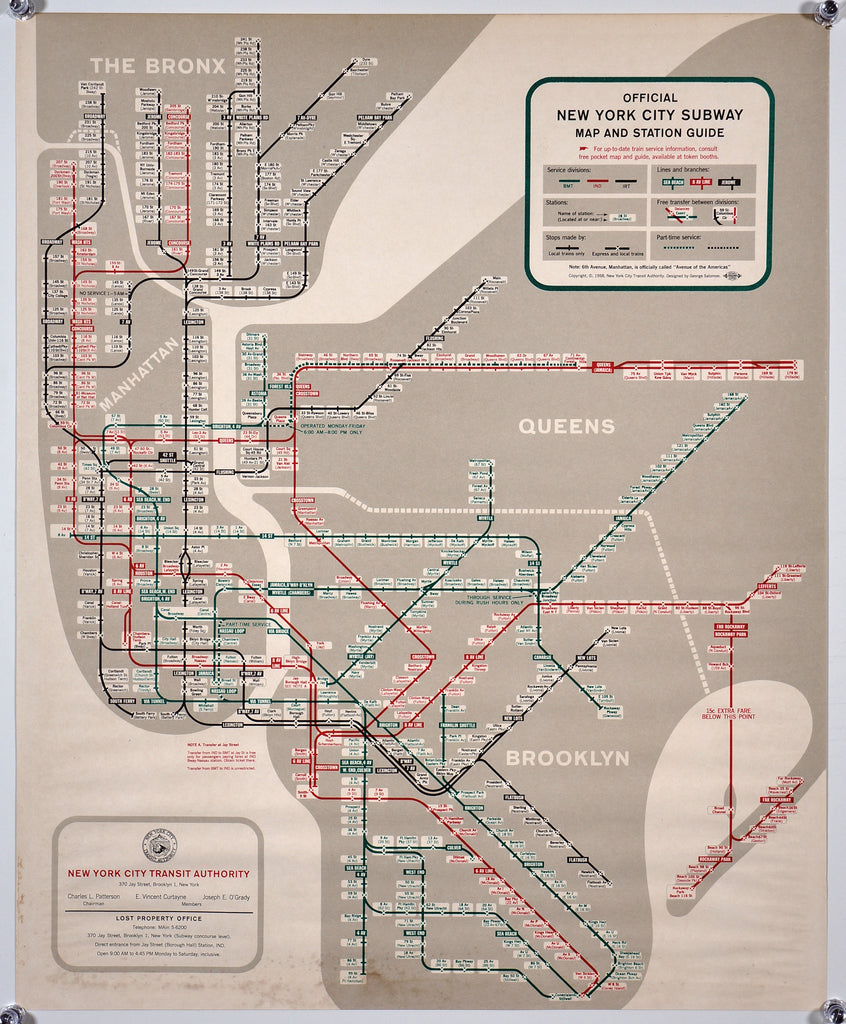 NYC Subway Map (1958) - Original and Authentic Vintage Poster