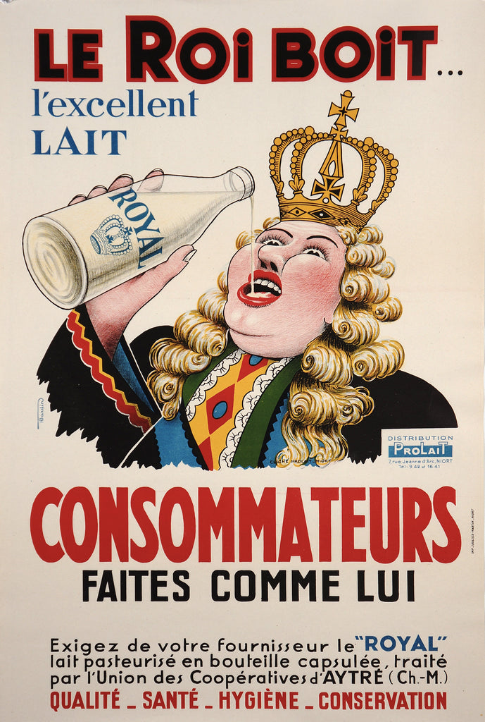 Le Roi Boit, l'excellent Lait (1930s) - Authentic Vintage Posters