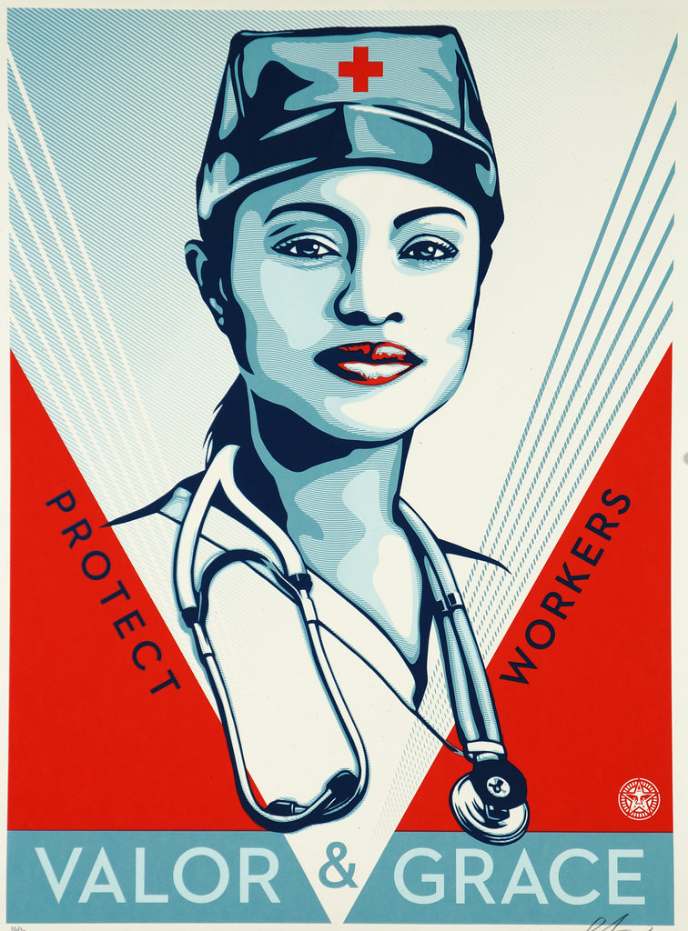 OBEY Valor & Grace Nurse Poster -- Signed & Numbered Out Of 450 - Original and Authentic Vintage Poster
