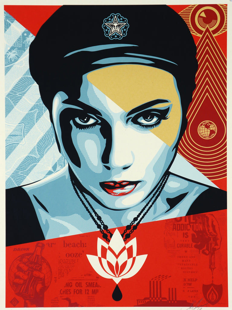 Shepard Fairey Obey Giant LOTUS WOMAN Signed Numbered Screen Print 375/450 - Original and Authentic Vintage Poster