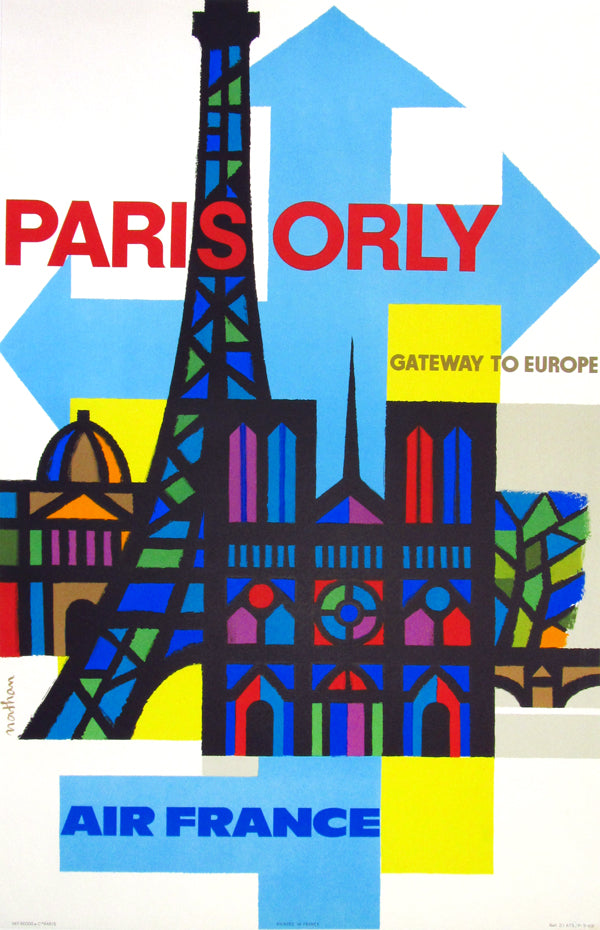 Paris Orly Air France (1962) - Original and Authentic Vintage Poster