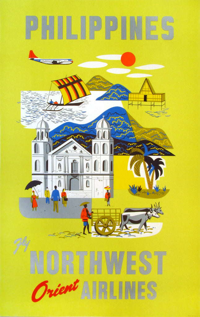 Northwest Orient Airlines- Philippines (c1955) - Original and Authentic Vintage Poster